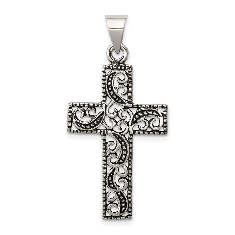 Quality Gold Sterling Silver Antiqued Scroll Cross Pendant