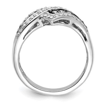 Sterling Silver Rhod Plated Champagne Diamond Fancy Two Lined Ring