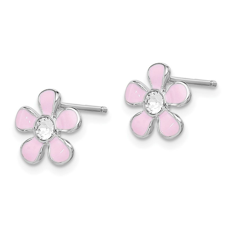 Quality Gold Sterling Silver Rhodium-plated Madi K Enamel Swarovski Flower Earrings