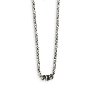 Sterling Silver Black Sapphire Bead Necklace