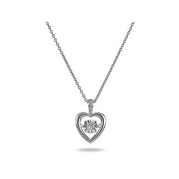 10K WG Solitaire Dancing Diamond Heart Pendant