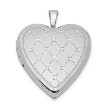 Sterling Silver Rhodium-plated 20mm Quilt Design Heart Locket