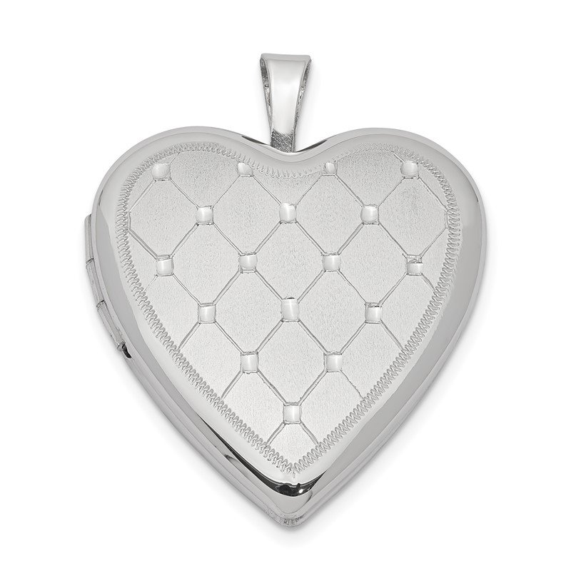 Quality Gold Sterling Silver Rhodium-plated 20mm Quilt Design Heart Locket