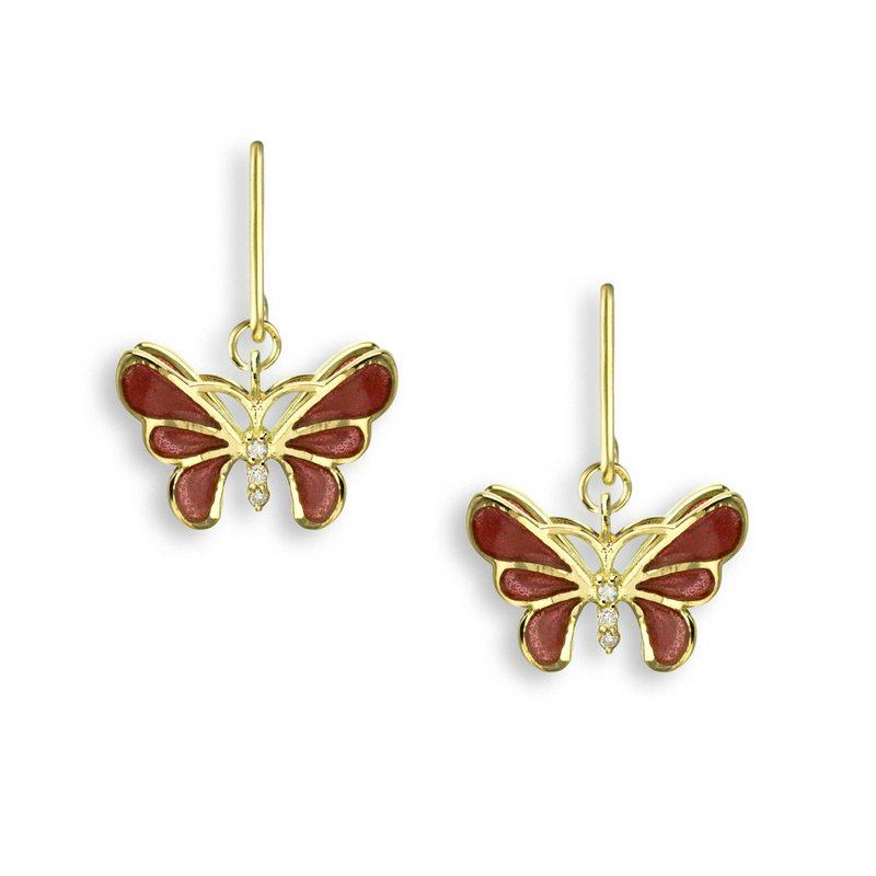 Nicole Barr Designs Pink Butterfly Wire Earrings.18K -Diamonds