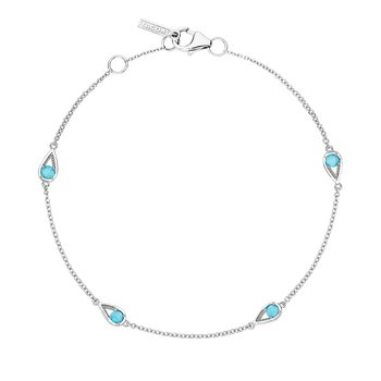 4-Station Open Crescent Bracelet with Turquoise
