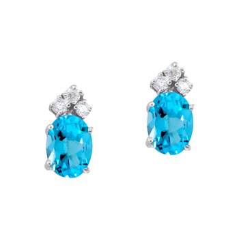 14k White Gold Blue Topaz and Diamond Oval Earrings