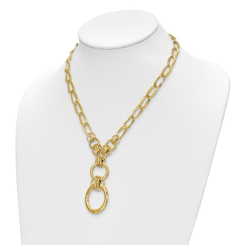 Leslie's Leslie's 14K Polished and Textured Fancy Link Y-Drop Necklace