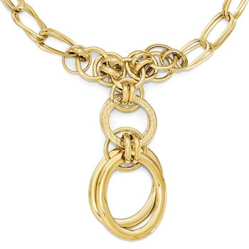 Leslie's 14K Polished and Textured Fancy Link Y-Drop Necklace