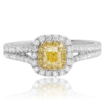 Cushion Cut Split Shank Diamond Ring