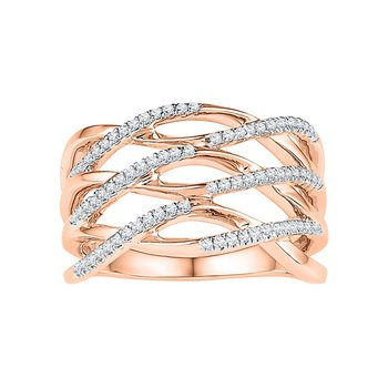 10kt Rose Gold Womens Round Diamond Crossover Strand Band Ring 1/4 Cttw