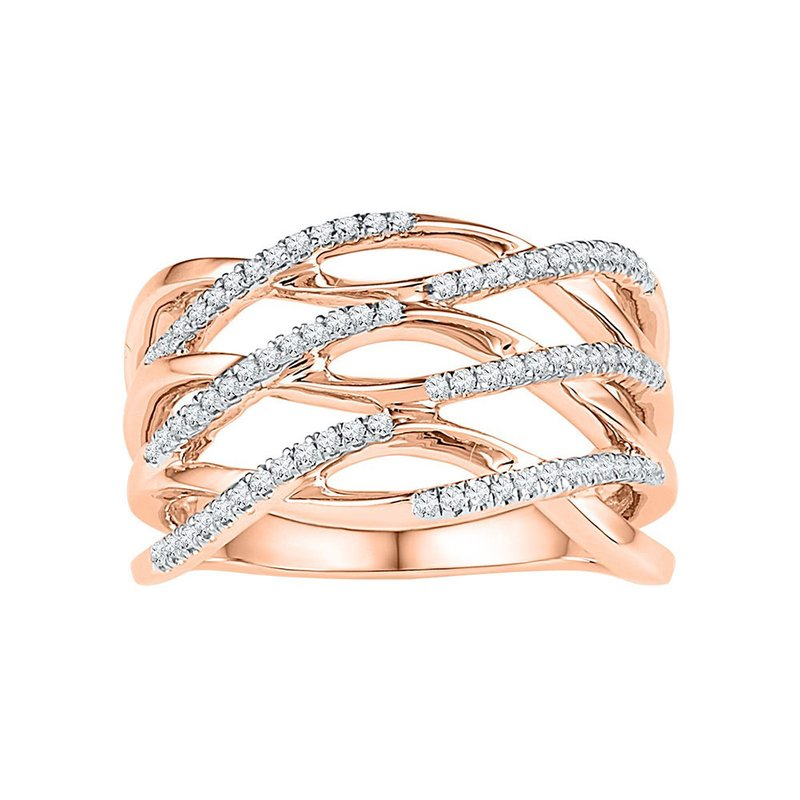 Kingdom Treasures 10kt Rose Gold Womens Round Diamond Crossover Strand Band Ring 1/4 Cttw