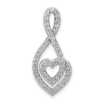 14k White Gold 1/4ct. Diamond Fancy Heart Infinity Chain Slide