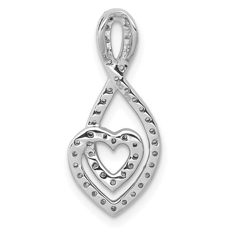 Quality Gold 14k White Gold 1/4ct. Diamond Fancy Heart Infinity Chain Slide