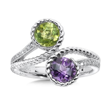 Sterling silver, peridot and amethyst diamond ring.
