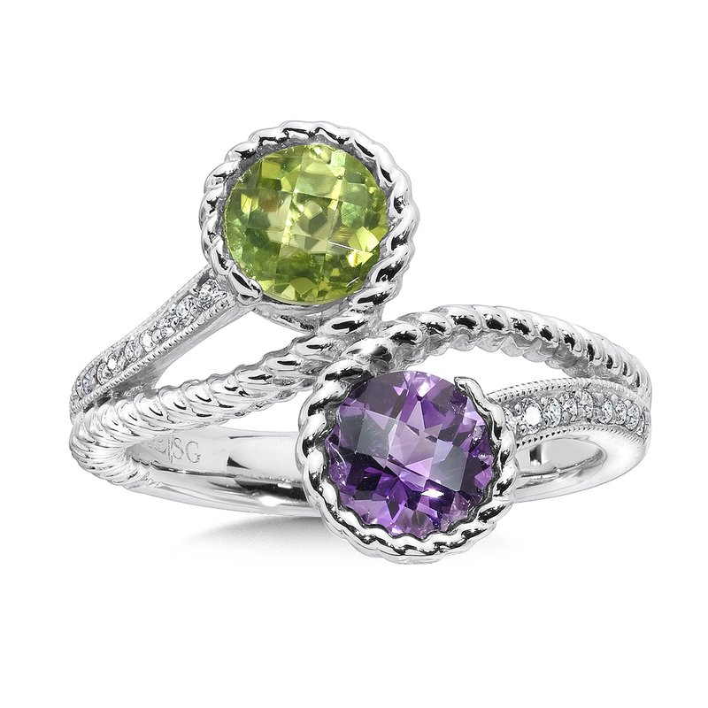 Colore Sg Sterling silver, peridot and amethyst diamond ring.
