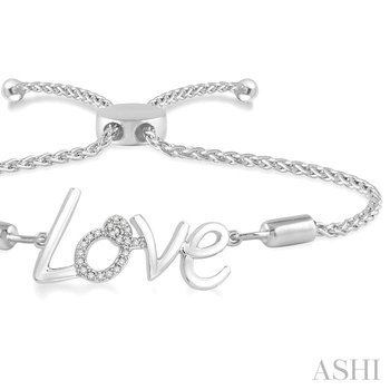 silver love lariat diamond bracelet