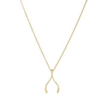 14K Gold Wishbone Necklace
