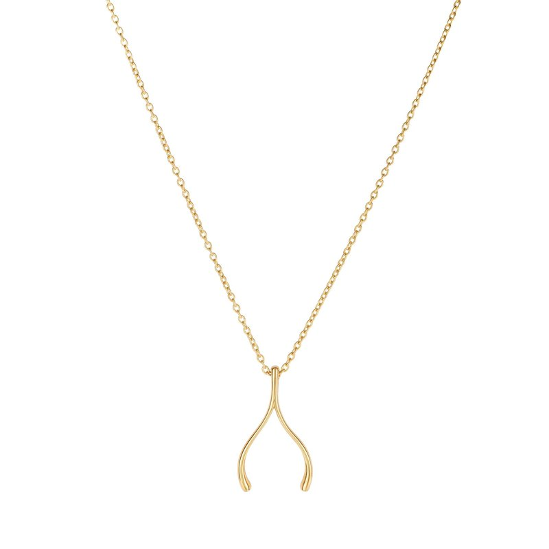 Royal Chain 14K Gold Wishbone Necklace