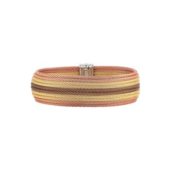 Yellow, Rose, & Bronze Cable Medium Cuff with 18kt Yellow Gold
