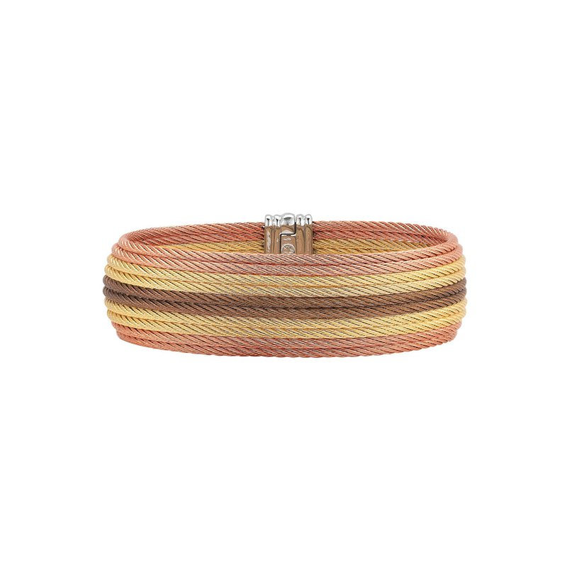 ALOR Yellow, Rose, & Bronze Cable Medium Cuff with 18kt Yellow Gold