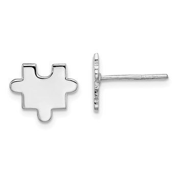 Sterling Silver Rhodium-plated Polished Puzzle Piece Post Earrings