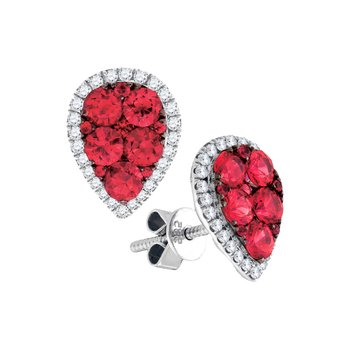 14kt White Gold Womens Round Ruby Cluster Diamond Teardrop Frame Earrings 1-7/8 Cttw