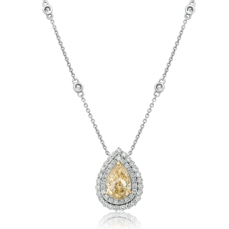 Roman & Jules Pear-shaped Yellow Diamond Drop Necklace