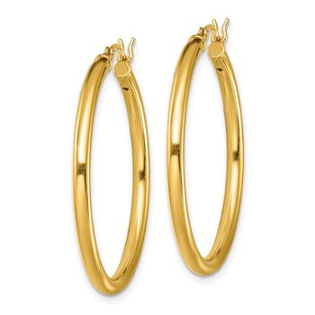 Sterling Silver Gold-Tone Polished 2.5x35mm Hoop Earrings