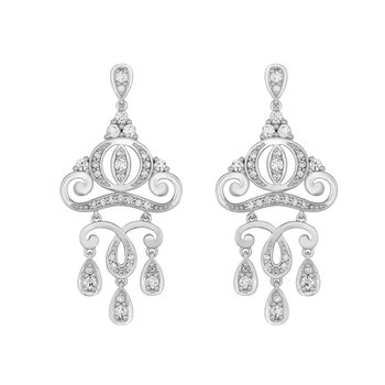 14KW 1 3/8CTW Cinderella Carriage Earring