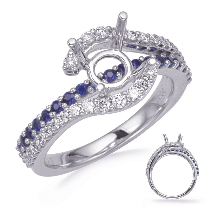 S. Kashi & Sons Bridal White Gold Sapphire & Diamond Engagement