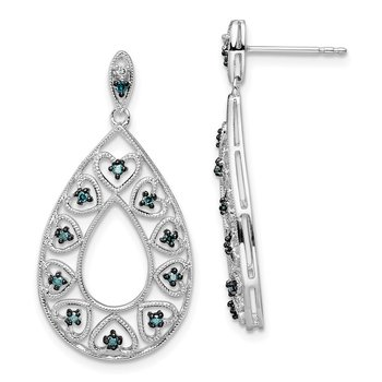 Sterling Silver Rhod Plated Dangle White & Blue Diamond Post Earrings