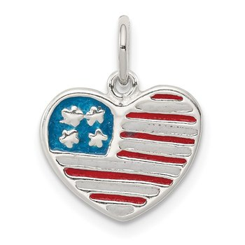Sterling Silver Polished Enamel American Flag Heart Pendant