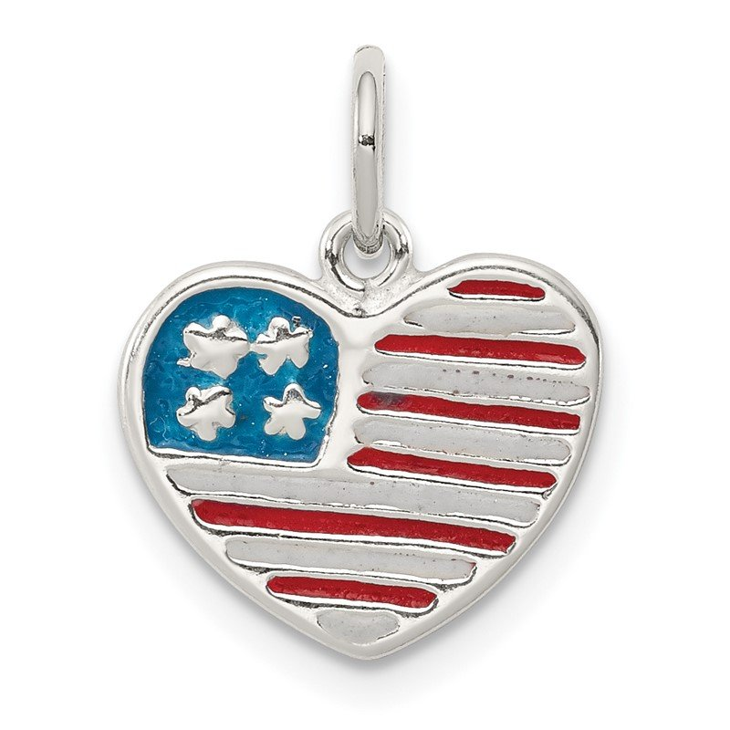 Quality Gold Sterling Silver Polished Enamel American Flag Heart Pendant