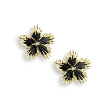 Black Rock Flower Stud Earrings.18K -Diamonds