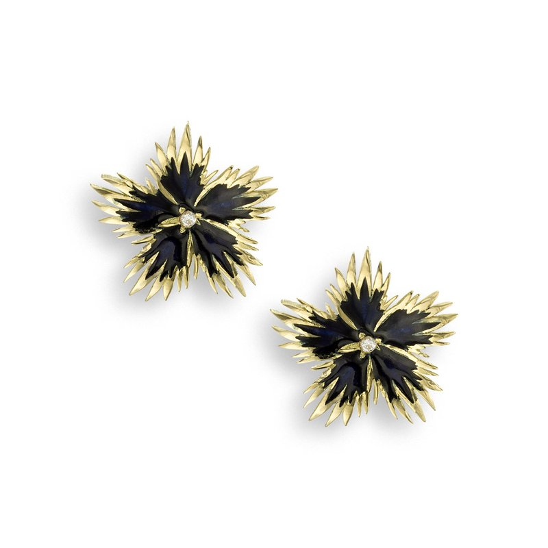Nicole Barr Designs Black Rock Flower Stud Earrings.18K -Diamonds
