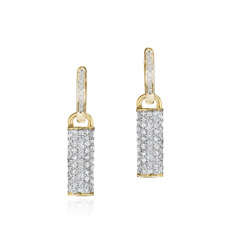 Phillips House Yellow gold diamond Contrast bar huggie earrings