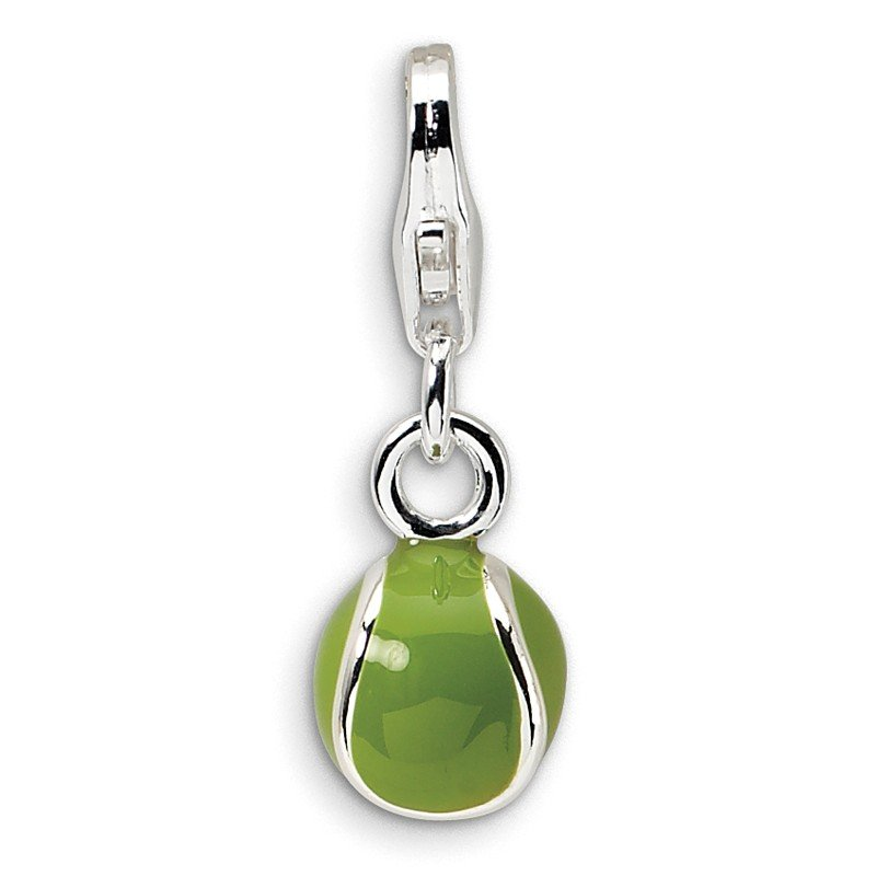 Quality Gold Sterling Silver 3-D Enameled Tennis Ball w/Lobster Clasp Charm