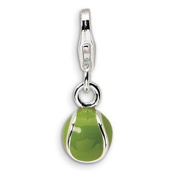Sterling Silver RH 3-D Enameled Tennis Ball w/Lobster Clasp Charm