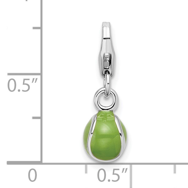 J.F. Kruse Signature Collection Sterling Silver Amore La Vita Rhodium-pl 3-D Enameled Tennis Ball Charm
