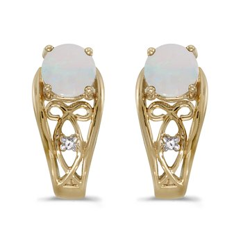 14k Yellow Gold Round Opal And Diamond Earrings