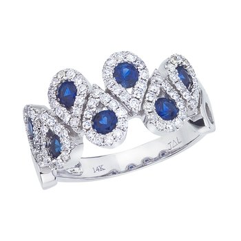 14k White Gold Sapphire and .48 ct Diamond Fashion Ring
