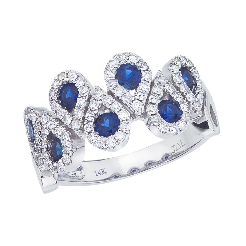 Color Merchants 14k White Gold Sapphire and .48 ct Diamond Fashion Ring
