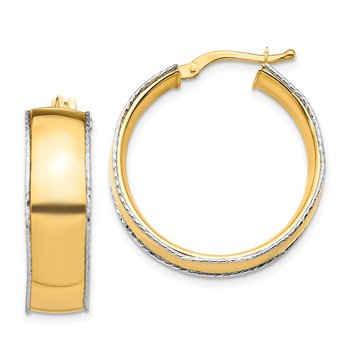 14K Yellow & White Gold 8x25mm D/C Edge Hoop Earrings