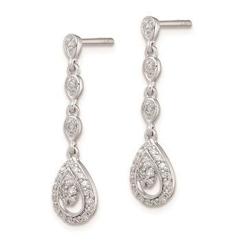 Sterling Silver Rhodium & Diam. Teardrop Post Dangle Earrings