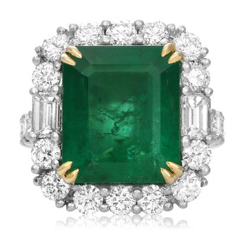 Platinum Emerald & Diamond Ring
