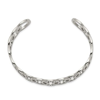 Stainless Steel Polished with Swarovski Crystals 14.5mm Circles Bangle