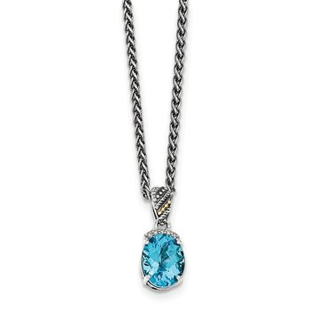 Sterling Silver w/14k Lt Swiss Blue Topaz & Diamond Necklace