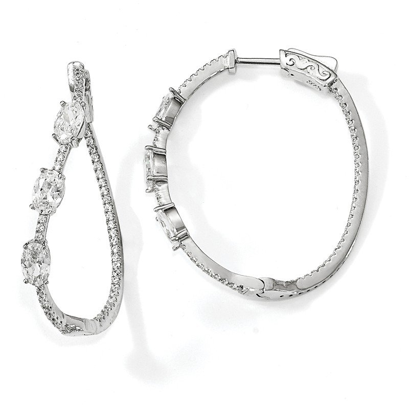 Quality Gold Sterling Silver Polished Curvy Oval CZ In and Out Oval Hoop Earrings