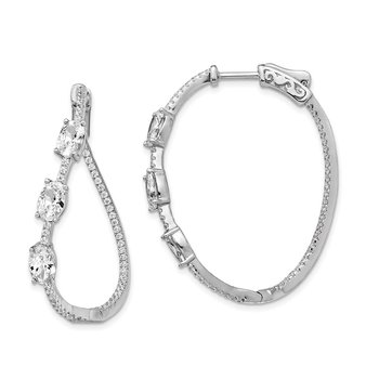 Sterling Silver Polished Curvy Oval CZ In and Out Oval Hoop Earrings