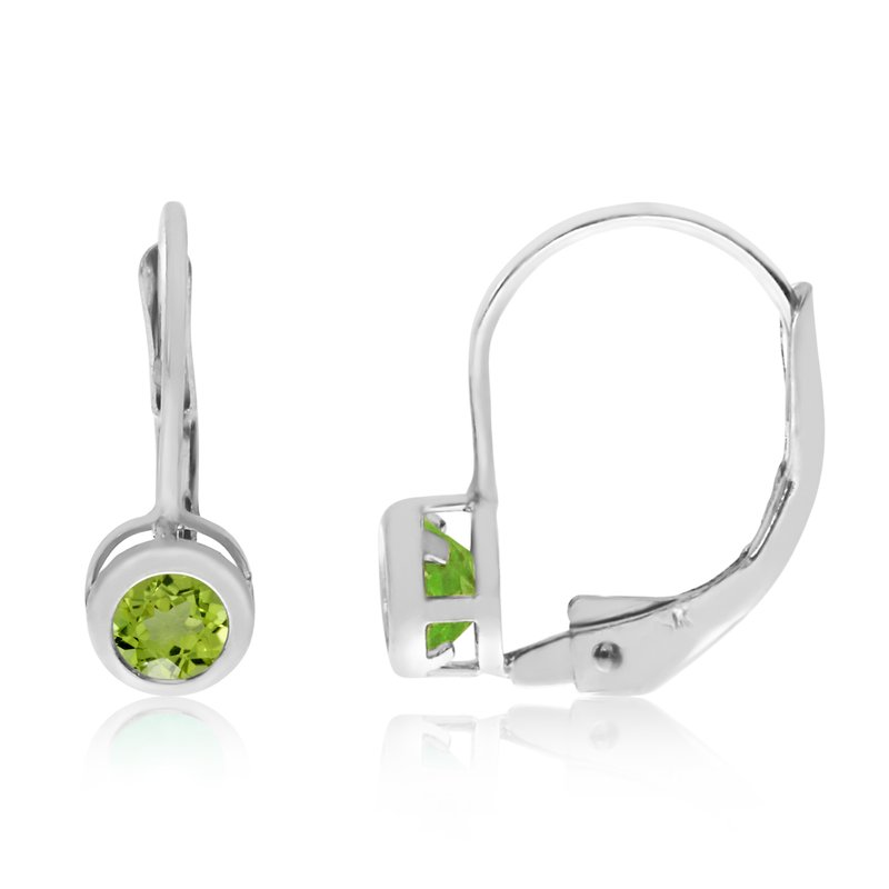 Color Merchants 14k White Gold 4mm Peridot Bezel Leverback Earrings